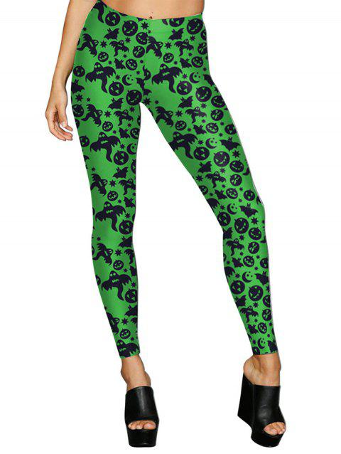 Women Digital Print Stretchy Ankle Leggings Tights - GREEN M