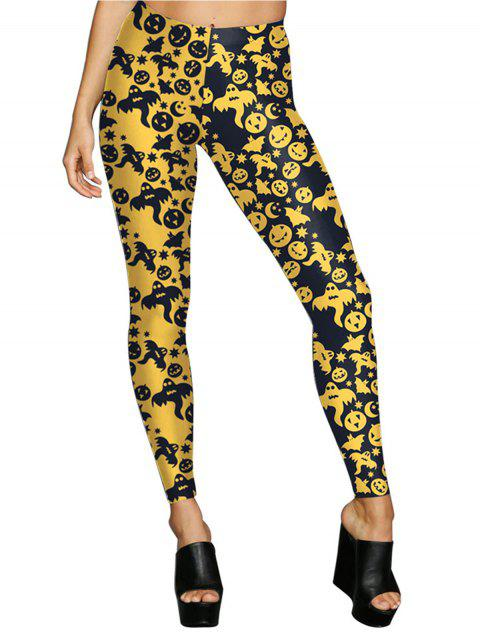 Women Digital Print Stretchy Ankle Leggings Tights - YELLOW M