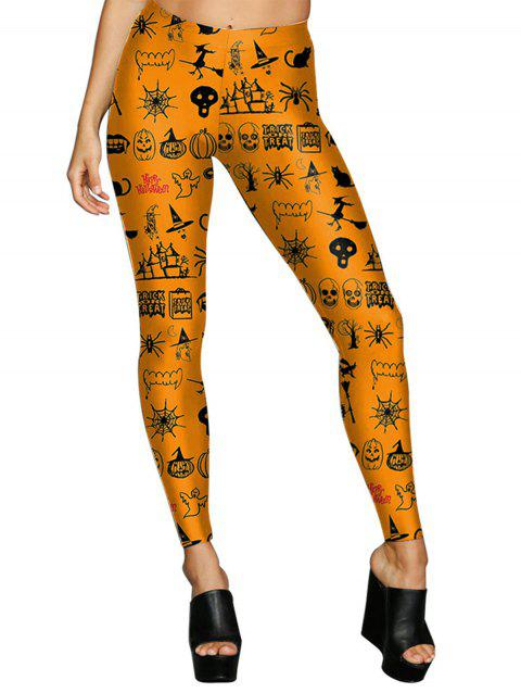 Women Digital Print Stretchy Ankle Leggings Tights - DARK ORANGE XL