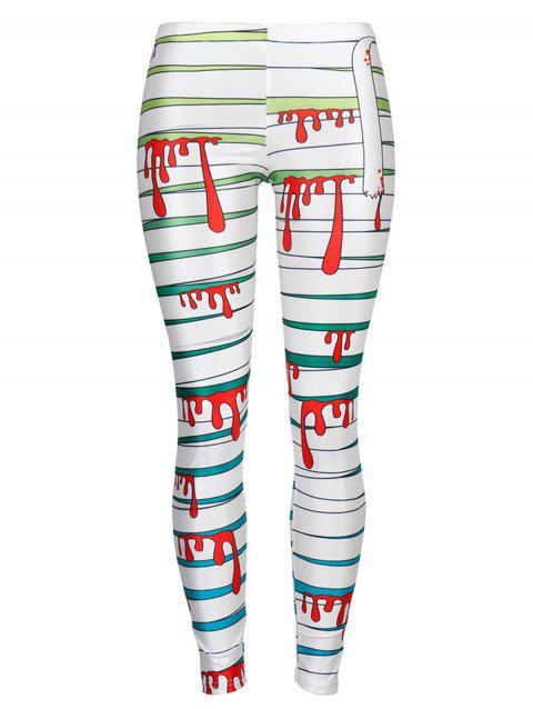 Womens Leggings Graphic Print Tights  Holiday Elastic Pants - WHITE S