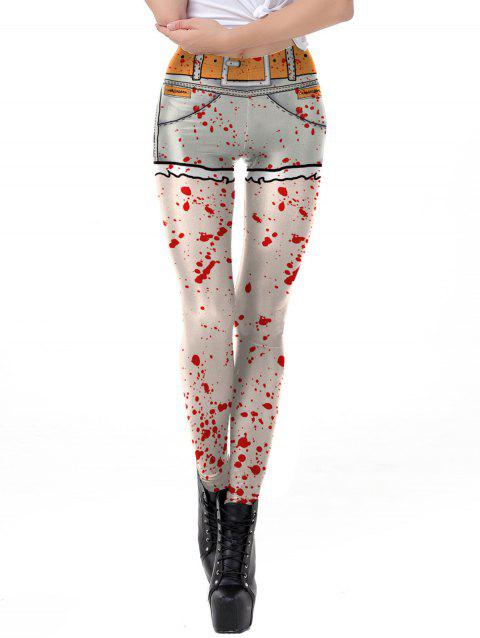 Womens Leggings Graphic Print Tights  Holiday Elastic Pants - RED L