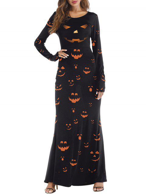Womens Halloween Day Costume Funny Cosplay Maxi Dress - BLACK M