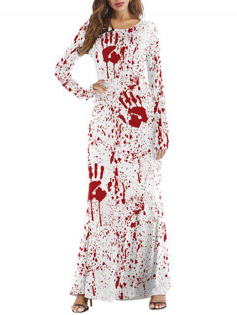 Womens Halloween Day Costume Funny Cosplay Maxi Dress - WHITE L