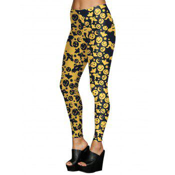 Women Digital Print Stretchy Ankle Leggings Tights - YELLOW S