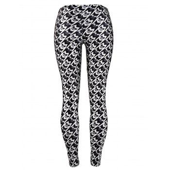 Womens Leggings Graphic Print Tights  Holiday Elastic Pants - BLACK L