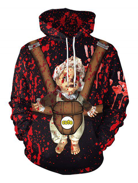 Halloween  3D Patterns Print Athletic Sweaters Hoodies - RED 2XL