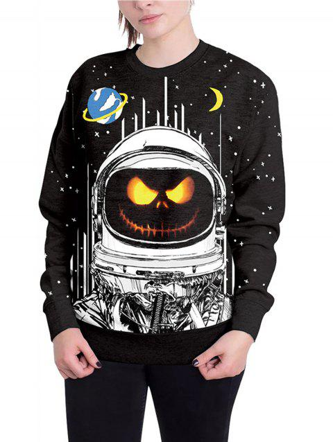 Halloween Unisex Casual 3D Patterns Print Athletic Sweaters - BLACK XL