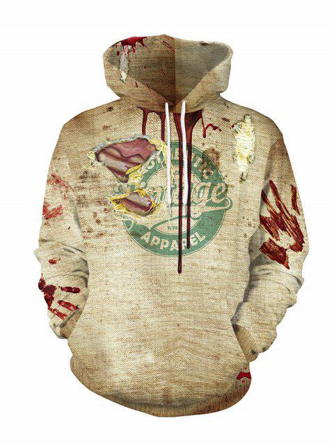 Halloween  3D Patterns Print Athletic Sweaters Hoodies - LIGHT GRAY 2XL