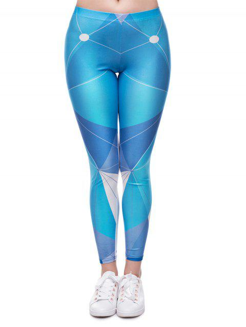 Women  Printed Leggings Basic  Patterned Leggings - BLUE M
