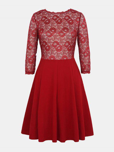 Lace Patchwork Round Collar 7 Point Sleeve A-line Dress - LAVA RED M