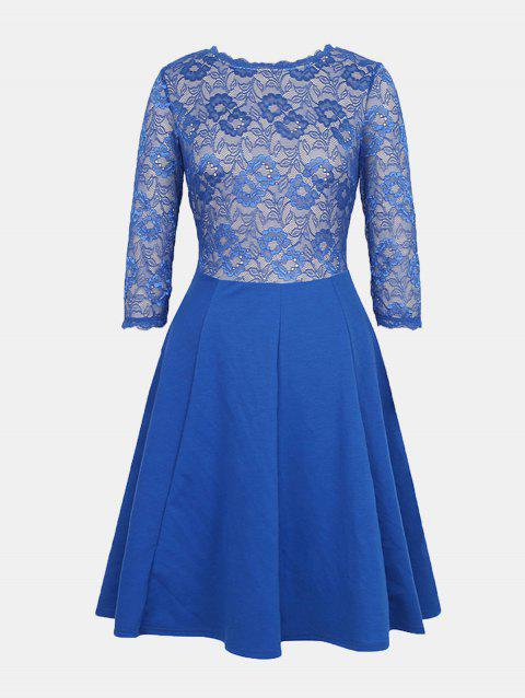 Lace Patchwork Round Collar 7 Point Sleeve A-line Dress - BLUE XL