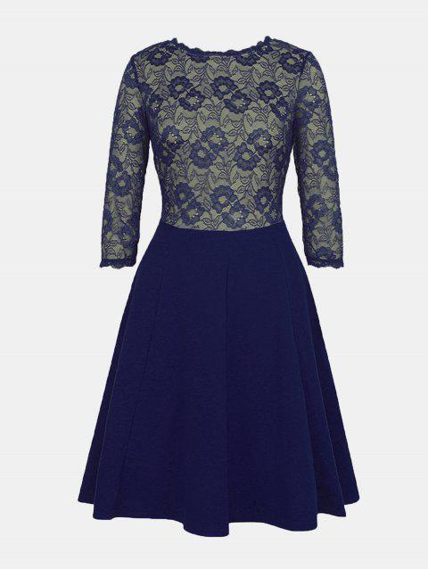 Lace Patchwork Round Collar 7 Point Sleeve A-line Dress - DEEP BLUE L