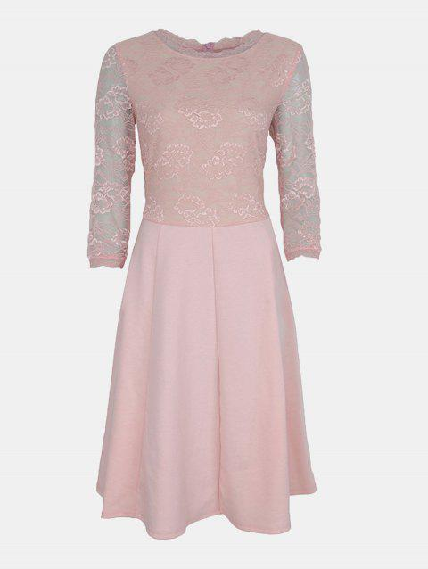 Lace Patchwork Round Collar 7 Point Sleeve A-line Dress - LIGHT PINK 4XL