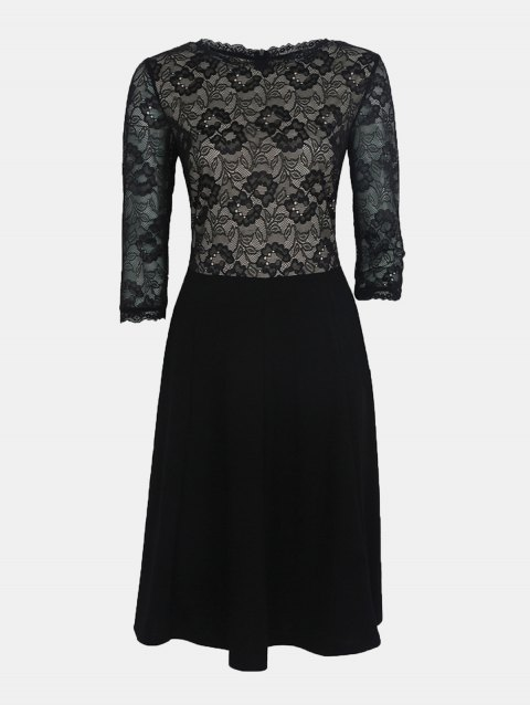 Lace Patchwork Round Collar 7 Point Sleeve A-line Dress - BLACK M