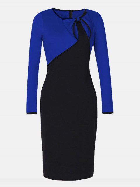 Fake Two Piece Round Collar Long Sleeve Pencil Dress - BLUE 2XL