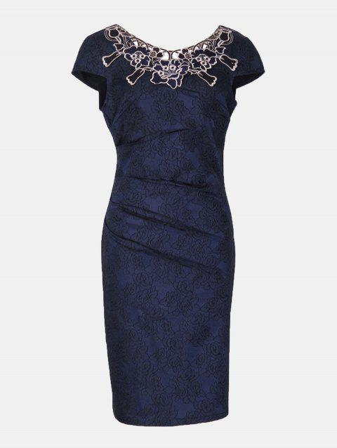 Floral Embroidered Short Sleeve Pencil Dress - BLUE M