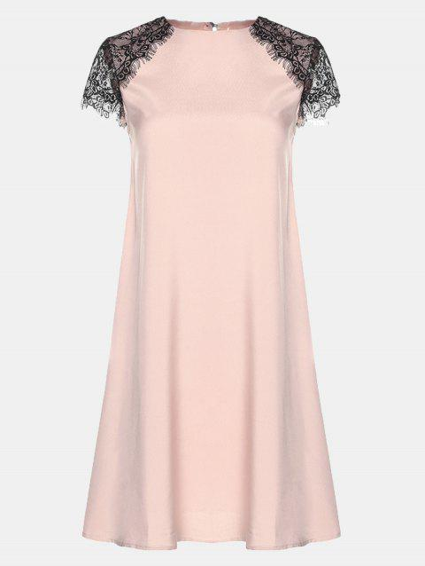 Round Collar Lace Short Sleeve Loose A-line Dress - BARE PINK 2XL