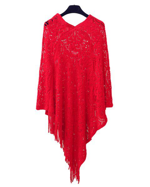 Hollow Out Fringe Irregular Pullover Shawl Sweater - RED