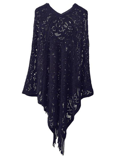Hollow Out Fringe Irregular Pullover Shawl Sweater - BLACK