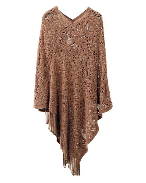 Hollow Out Fringe Irregular Pullover Shawl Sweater - COFFEE