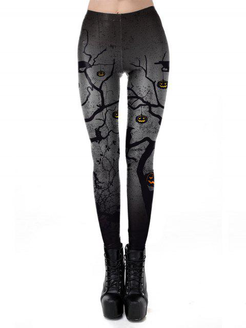 Womens Casual Pattern Ankle Length Elastic Tights Leggings - GRAY M