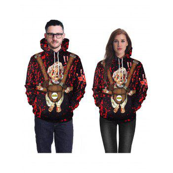 Halloween  3D Patterns Print Athletic Sweaters Hoodies - RED XL