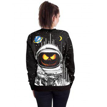 Halloween Unisex Casual 3D Patterns Print Athletic Sweaters - BLACK S