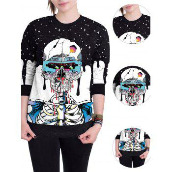 Halloween Unisex Casual 3D Patterns Print Athletic Sweaters - BLUE XL