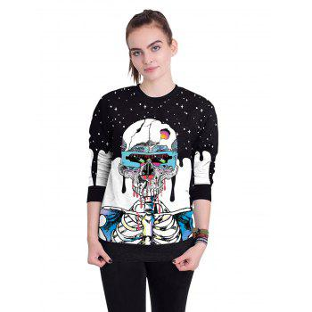 Halloween Unisex Casual 3D Patterns Print Athletic Sweaters - BLUE L
