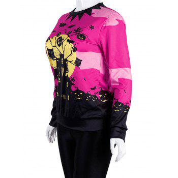 Women Casual Floral Print Sweatshirt  Pullover Tops - ROSE RED XL