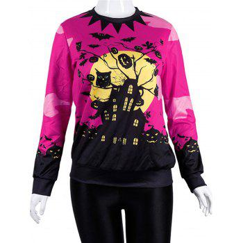 Women Casual Floral Print Sweatshirt  Pullover Tops - ROSE RED L