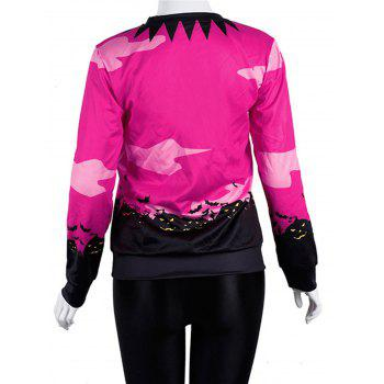 Women Casual Floral Print Sweatshirt  Pullover Tops - ROSE RED M