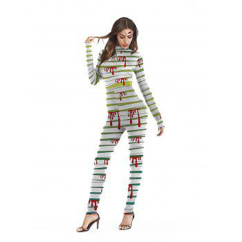 Womens Halloween Role Playing  Long Pants Jumpsuit  Tights - GREEN M