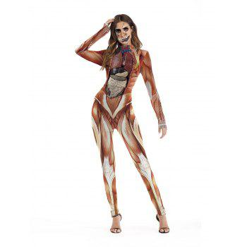 Womens Halloween Role Playing  Long Pants Jumpsuit  Tights - HALLOWEEN ORANGE XL
