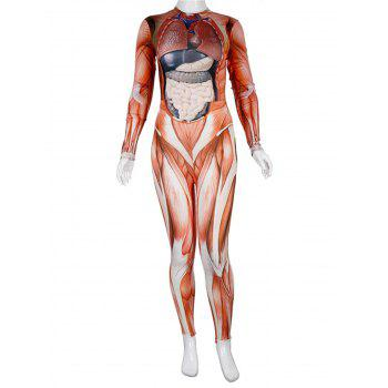 Womens Halloween Role Playing  Long Pants Jumpsuit  Tights - HALLOWEEN ORANGE S