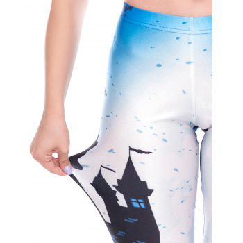 Womens Casual Pattern Ankle Length Elastic Tights Leggings - WHITE XL