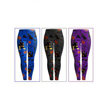New Halloween Fashion 3D Digital Print Stretchy Leggings - GRAY S