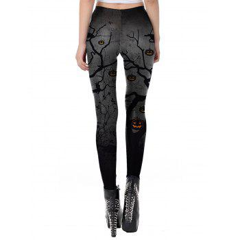 Womens Casual Pattern Ankle Length Elastic Tights Leggings - GRAY S