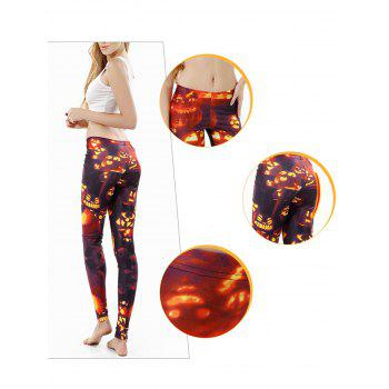 Women  Printed  Pattern Ankle Length Elastic Tights Leggings - ORANGE S