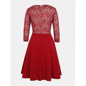 Lace Patchwork Round Collar 7 Point Sleeve A-line Dress - LAVA RED 3XL