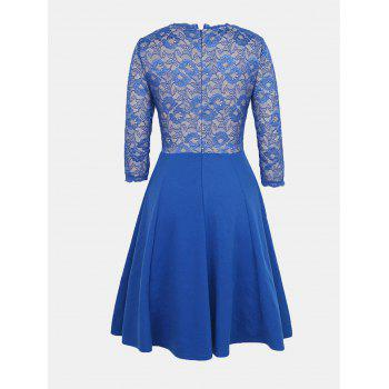 Lace Patchwork Round Collar 7 Point Sleeve A-line Dress - BLUE S