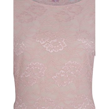 Lace Patchwork Round Collar 7 Point Sleeve A-line Dress - LIGHT PINK 2XL