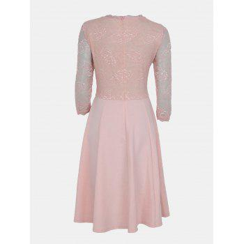 Lace Patchwork Round Collar 7 Point Sleeve A-line Dress - LIGHT PINK S