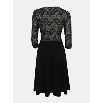 Lace Patchwork Round Collar 7 Point Sleeve A-line Dress - BLACK S