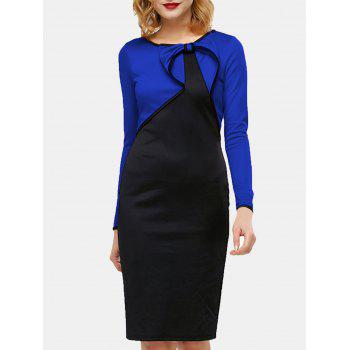 Fake Two Piece Round Collar Long Sleeve Pencil Dress - BLUE S