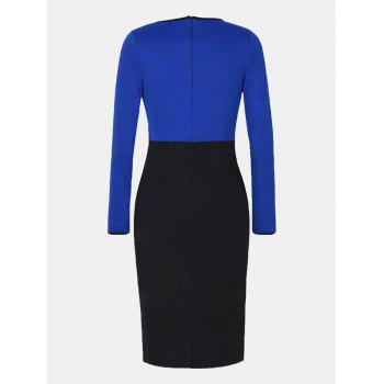 Fake Two Piece Round Collar Long Sleeve Pencil Dress - BLUE XL