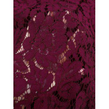 Lace Round Collar 3/4 sleeves A-line Dress - BURGUNDY S