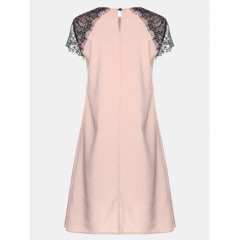 Round Collar Lace Short Sleeve Loose A-line Dress - BARE PINK XL