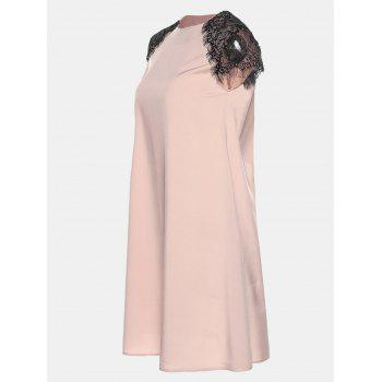 Round Collar Lace Short Sleeve Loose A-line Dress - BARE PINK L