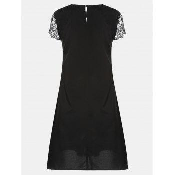 Round Collar Lace Short Sleeve Loose A-line Dress - BLACK S